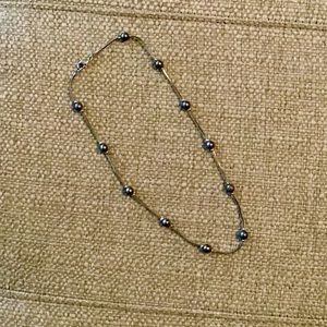 Blue Beaded Necklace on Silver Strand
